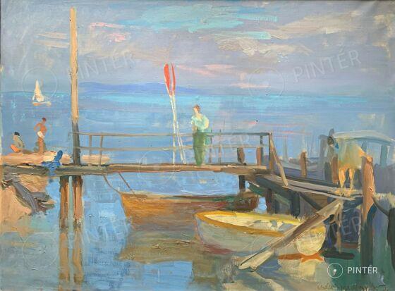 József Csáki-Maronyák: Pier on Lake Balaton