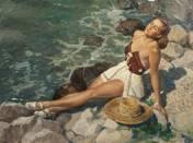Sunbather on Beach of Balaton