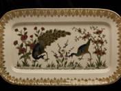 Zsolnay Dish with peacock and floral decor