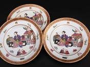 Herend Cake Plates (3 pcs) with Oriental Scene