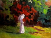 Woman with Parasol in Park
