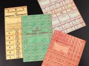 4 pcs public service coupon, fat ticket, meat ticket, soap ticket from Budapest 1945