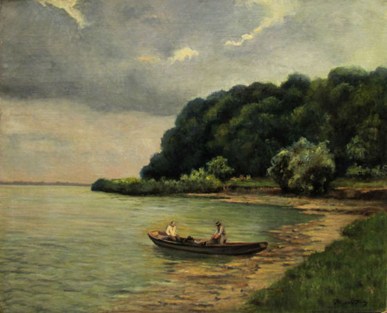 Jenő Kárpáthy (1870-1950):  Fishermen on the Waterside  (oil, canvas, 80 x 100 cm, s.l.r.: Kárpáthy Jenő) Starting price: 220.000 HUF