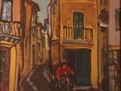 Motorbiker in Small Street