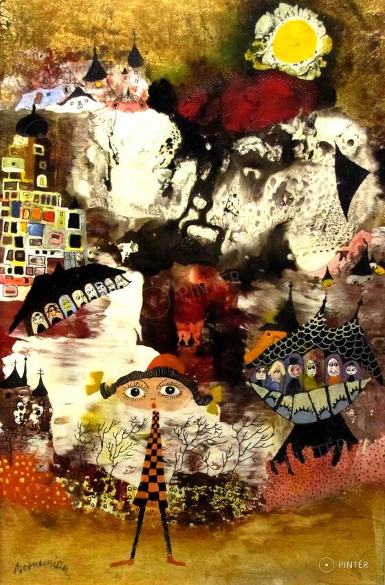 László Bornemisza: Mediterranean town VIII. (oil, fiber board, 30 x 20 cm, s.l.l.: Bornemissza) Starting price: 140.000 HUF