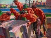 Workers at the Erzsébet Bridge (1959)