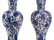 Zsolnay vase with isnik decoration in pair