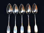 Viennese Antique Silver Teaspoons (5 pieces)
