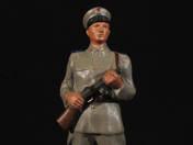 Policeman with cartridge-drum machine gun
