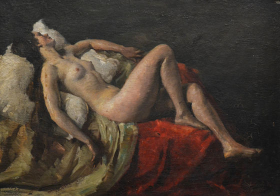 Miklós Mihalovits (1888-1960): Lying Nude (oil, plywood, 50 x 70 cm, s.l.r.: Mihalovits M 1932) Starting price: 120.000 HUF