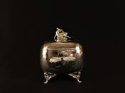 Pest Silver Sugar Box with Deer Decoration