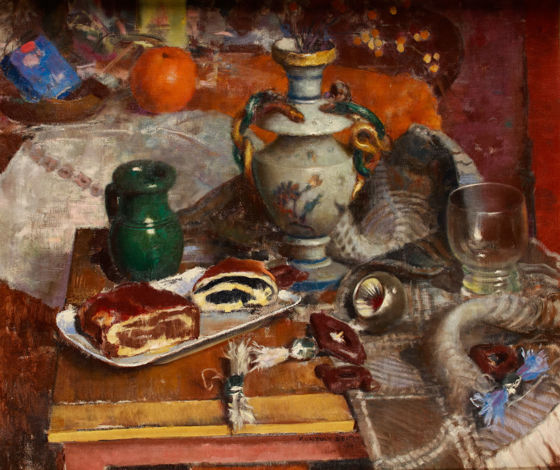Béla Kontuly (1904-1983):  Christmas still life (oil, canvas, 60 x 70,5 cm, s.m.l.: Kontuly Béla 1961)  Starting price: 440.000 HUF
