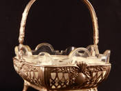 German Silver Offering Basket with Glass Insert