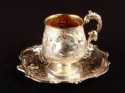 Vienna Silver Rococo Coffe Cup and Soucer