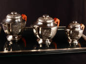 Silver Art Deco Tea Set (3 pcs Can, 1 pcs Tray)