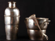 Art Deco Silver Shaker and Ice Bucket with Forceps
