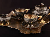 Vienna Silver Coffe Set for Two Persons