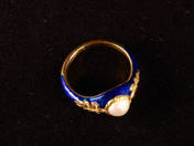 Enamelled ring with Pearl and Diamonds