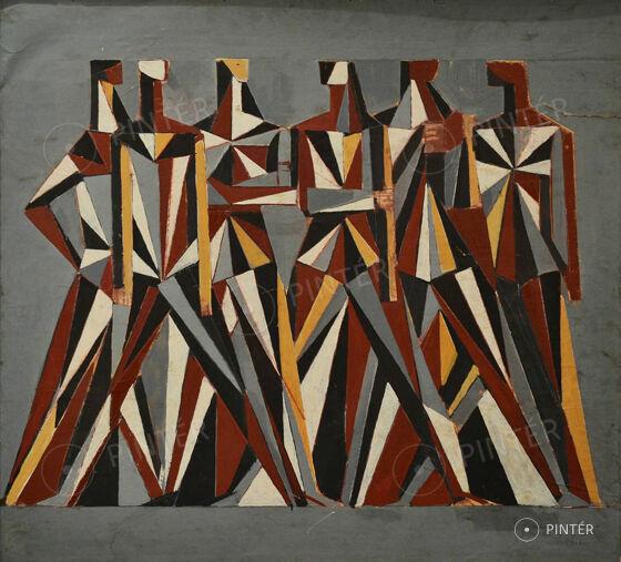 Zoltán, Angyalföldi Szabó (1928-2014):  Sgraffito Plan to Jánoshalom  (oil, fibreboard, 89 x 100 cm, s.l.r.: Szabó Zoltán 78) Starting price: 160.000 HUF