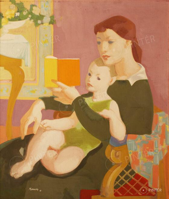 Jenő Medveczky (1902-1969):  Mother with Child (Story reading) (oil, canvas, 70 x 60 cm, s.l.l.: Medveczky 61) Starting price: 320.000 HUF