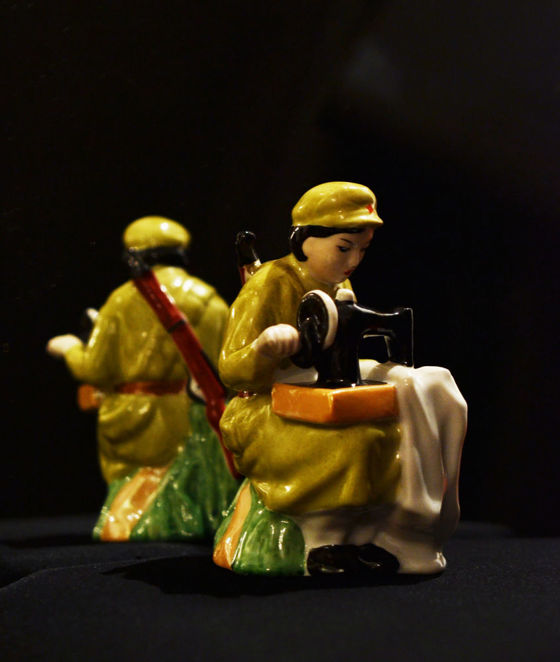 North-Corean Soldier Woman with Sewing Machine