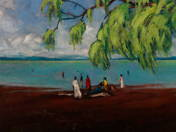 Coast of Balaton with Bathers
