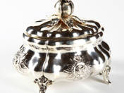 Silver Sugar Box with Rose Decoration from Pest