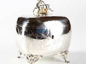 Silver Sugar Box with Deer Decoration from Pest