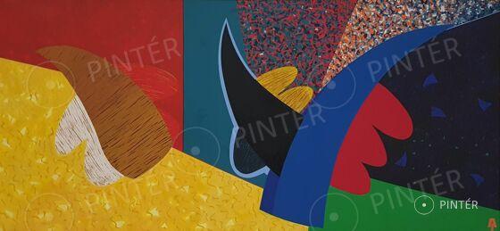 János Aknay (1949):  An Angel Has Been Born  (oil, canvas, 140 x 290 cm, s.l.l.: AJ)  Starting price: 1.500.000 HUF
