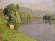 Riverside with a flat-boat
