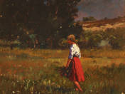 Girl Picking Flowers on the Field