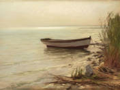 Landscape of Balaton with a Boat