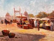 Market with the Franz Joseph Bridge