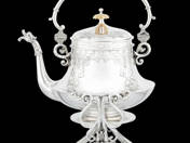 Historical Viennese Silver Teapot with Stand