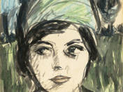 Portrait of Magda in Green Turban
