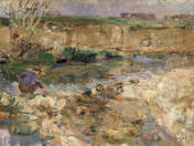 Waterfront Landscape with a Boy