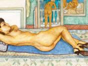 Lying woman in the studio