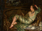 Lady lying on the sofa