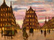 Nightfall in Paris with omnibus