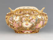 Zsolnay plant holder with rococo decoration