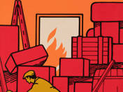 A messy warehouse is dangerous for fire and accidents! - poster