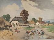 Washing on the end of the village