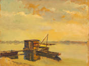 Fishing hut with boats