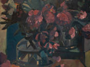 Still life with purple flowers