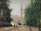 Albert Legát: Landscape with Tower - Street View with Tower