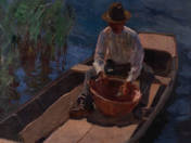 Man with Hat in a Boat