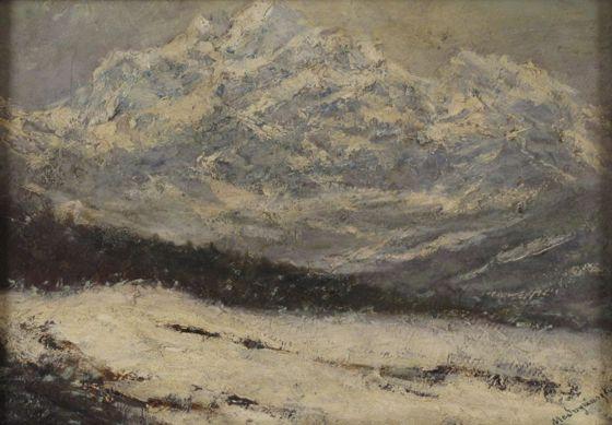 Baron László Mednyánszky: Snowy Tatra LAndscape (oil, carton, 25,5 x 36 cm, s.l.r.: Mednyánszky) starting price: 650.000 HUF