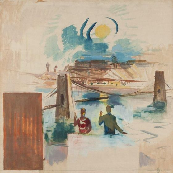 Aurél Bernáth: Metropol mural painting (colour sketch) (tempera, paper, 100 x 100 cm, s.l.r.: BA életmű kat.: 1959/59) starting price: 320.000 HUF