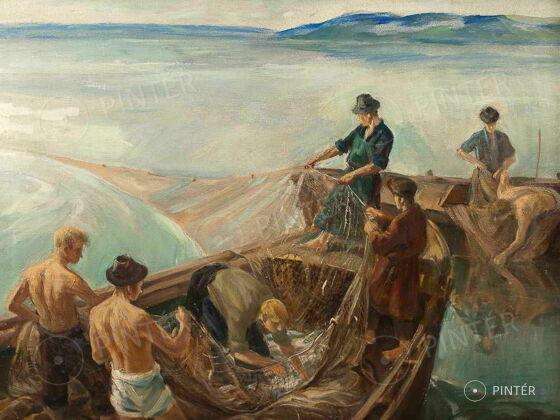 Pál Udvary: Fishermen on Balaton (oil, canvas, 60 x 80 cm, s.l.r.: Udvary Pál) Price: 310.000 HUF