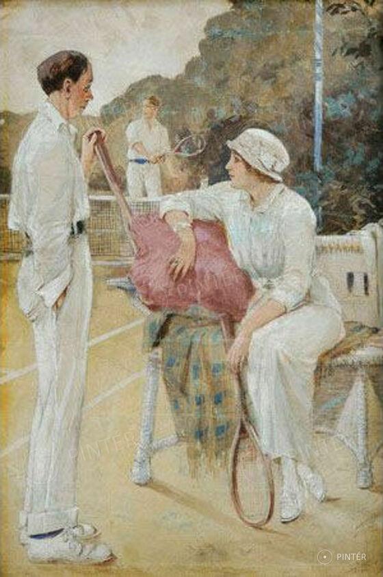 Marold Ludek (1858-1898): Tennis players (water colour, gvas, paper; 35 x 23 cm; s.l.r.) starting pice: 1 300 000 HUF